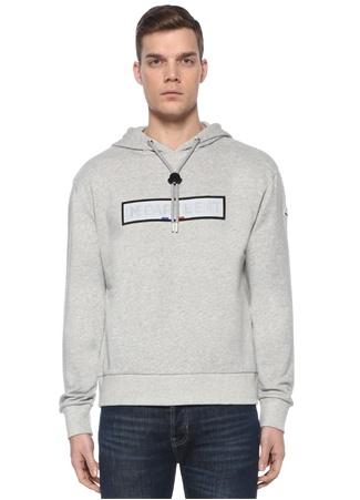 Moncler Erkek Gri Melanj Kapüşonlu Logo Baskılı Sweatshirt EU male