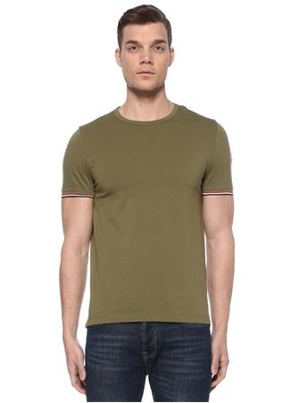 Moncler Erkek Slim Fit Haki Rib Detaylı T-shirt XL EU male