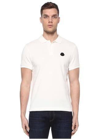 Moncler Erkek Beyaz Polo Yaka Logo Patchli T-shirt EU male