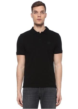 Moncler Erkek Siyah Polo Yaka Logo Patchli T-shirt EU male