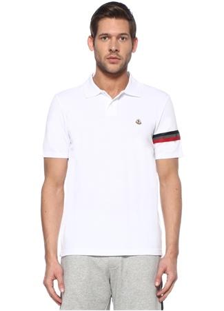 Moncler Erkek Beyaz Polo Yaka Reflektif Şeritli T-shirt XXL EU male