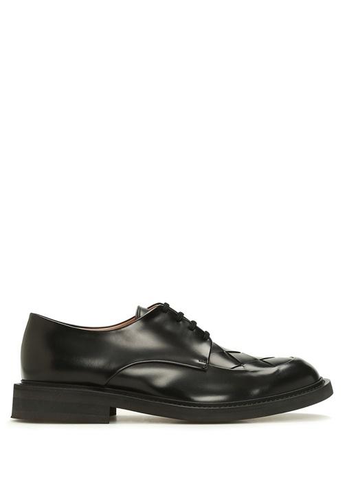 Siyah Örgü Doku Detaylı Erkek Deri Ayakkabı
