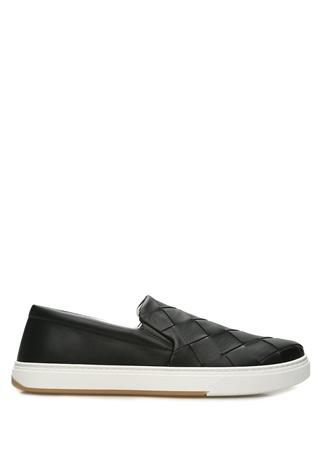Bottega Veneta Erkek Siyah Örgü Dokulu Deri Sneaker 42.5 EU male