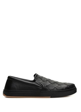 Bottega Veneta Erkek Siyah Örgü Dokulu Deri Sneaker 40 EU male