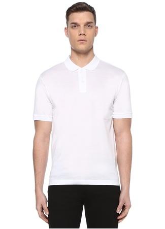 Bottega Veneta Erkek Beyaz Polo Yaka Logo Nakışlı Dokulu T-shirt 52 IT male