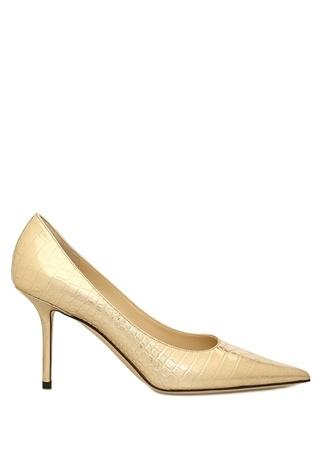 Jimmy Choo Kadın Love Gold Krokodil Dokulu Deri Stiletto Altın Rengi 36.5 EU