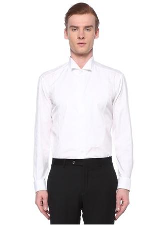 Etro Erkek Regular Fit Beyaz Ata Yaka Etnik Desenli Gömlek 42 IT male