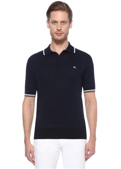 Lacivert Polo Yaka Renk Detaylı T-shirt