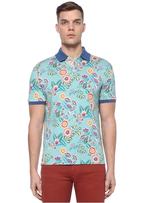 Mavi Polo Yaka Çiçek Desenli Dokulu T-shirt