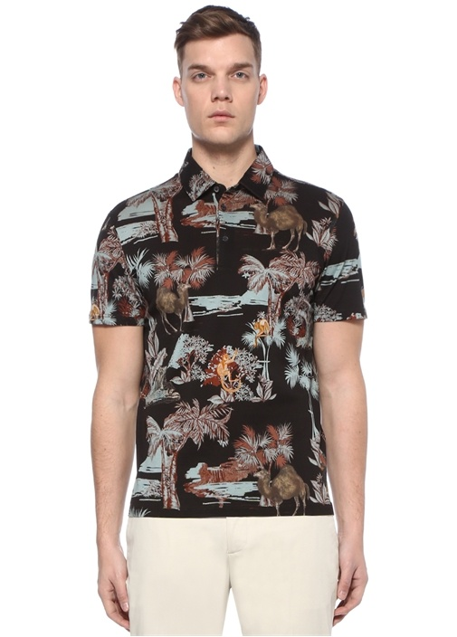 Siyah Polo Yaka Palmiye Desenli Dokulu T-shirt