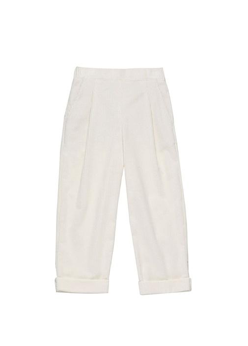 Beyaz Pilili Kız Çocuk Kadife Pantolon