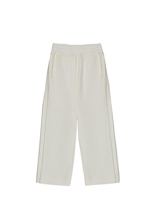 Beyaz Zincir Detaylı Kız Çocuk Pantolon