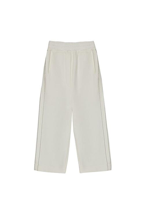 Beyaz Yanı Zincir Şeritli Kız Çocuk Pantolon