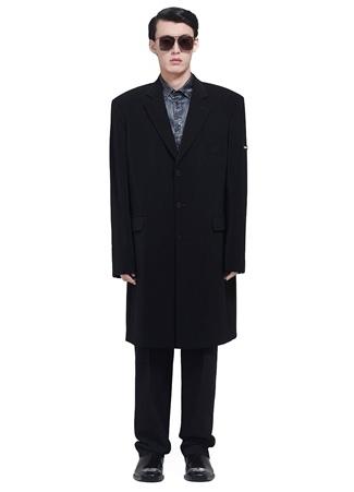 Balenciaga Erkek Siyah Kelebek Yaka Twill Krep Palto 46 IT male