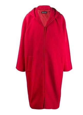 Balenciaga Erkek Oversize Kırmızı Kapüşonlu Polar Palto 44 IT male