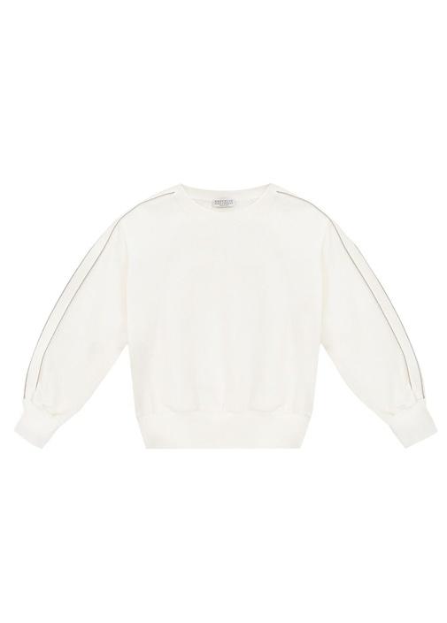 Beyaz Zincir Detaylı Kız Çocuk Sweatshirt