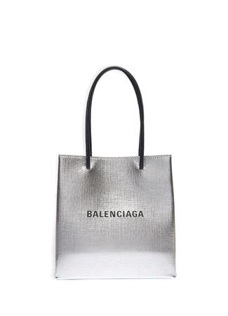 Balenciaga Kadın North South XXS Silver Deri Omuz Çantası Gri EU