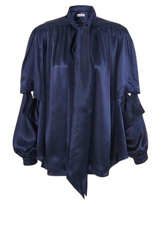 Balenciaga Kadın Lacivert Yakası Bağlamalı İpek Bluz 36 FR female