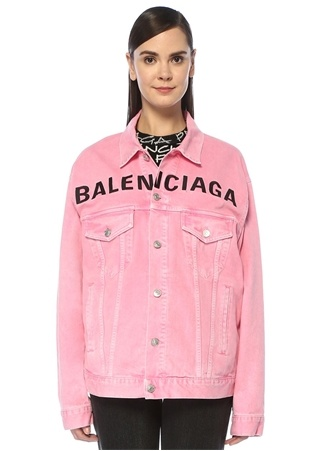 Balenciaga Kadın Boxy Fit Pembe Logo Nakışlı Denim Ceket 34 FR