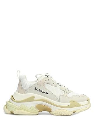 Balenciaga Kadın Triple S Krem Logolu Sneaker Beyaz 36 EU