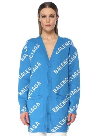 Balenciaga Kadın Mavi V Yaka Logo Jakarlı Yün Hırka XS EU female