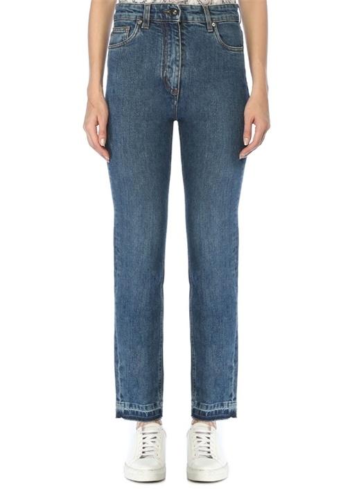 Yüksek Bel Logo Nakışlı Skinny Jean Pantolon