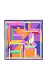 Colorblocked Geometrik Çizgili Kadın İpek Fular