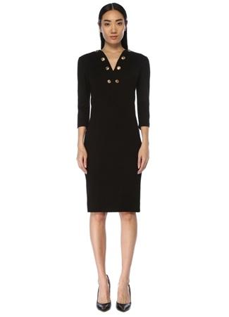 Givenchy Kadın Siyah V Yaka Gold Düğme Detaylı Midi Elbise 36 IT