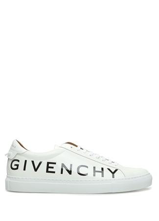 Givenchy Erkek Beyaz Logo Baskılı Rugan Sneaker 40 EU male