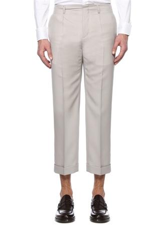 Givenchy Erkek Gri Pili Detaylı Crop Yün Pantolon 50 IT male