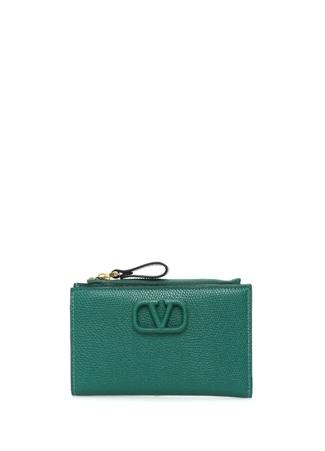Valentino Garavani Kadın VSling Yeşil Fermuarlı Deri Kartlık EU female Standart