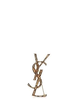 Saint Laurent Kadın Gold Logo Formlu Broş Altın Rengi EU