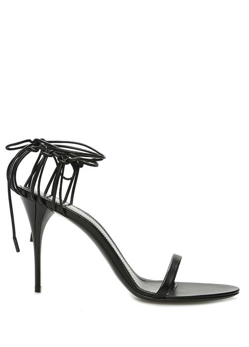 Lexi Siyah Bağcık Detaylı Kadın Deri Sandalet