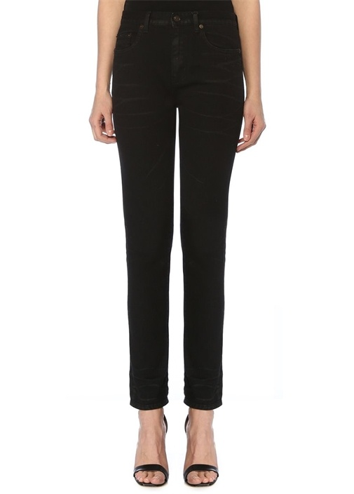 Siyah Normal Bel Crop Jean Pantolon