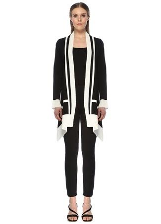 Beymen Club Kadın Siyah Beyaz Ajurlu Şeritli Mendil Formlu Hırka female