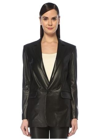 Beymen Studio Kadın Siyah Kelebek Yaka Tek Düğmeli Deri Blazer Ceket 40