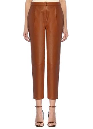 Beymen Studio Kadın Taba Yüksek Bel Pilili Deri Pantolon Kahverengi 34