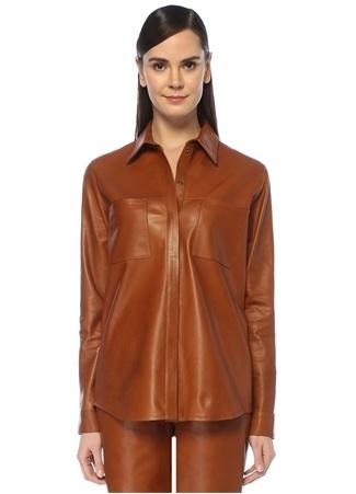 Beymen Studio Kadın Taba İngiliz Yaka Deri Gömlek Kahverengi 34