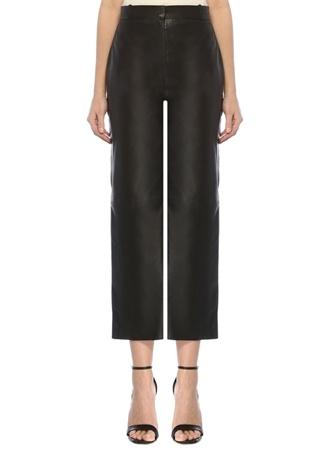 Beymen Studio Kadın Siyah Yüksek Bel Bootcut Deri Pantolon 34