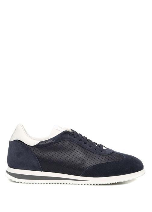 Siyah Tabanı Şeritli Erkek Deri Sneaker