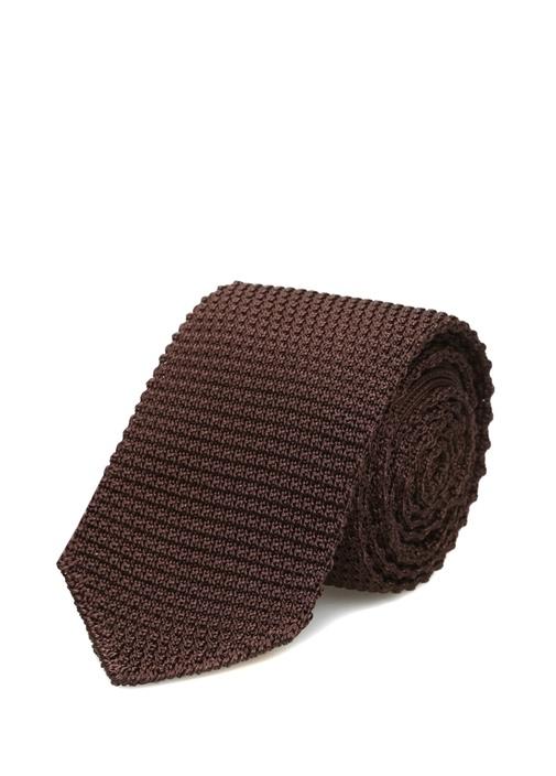 Kahverengi Dokulu İpek Kravat