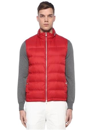Brunello Cucinelli Erkek Kırmızı Kapüşonlu Dekoratif Dikişli Puff Dış Yelek M EU male