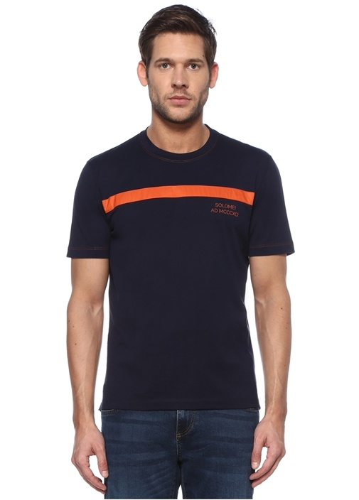 Regular Fit Lacivert Turuncu Şerit Detaylı T-shirt