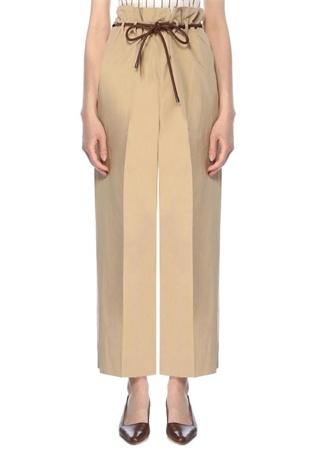 Brunello Cucinelli Kadın Kamel Beli Kordonlu Boru Paça Cropped Pantolon Kahverengi 40 IT female