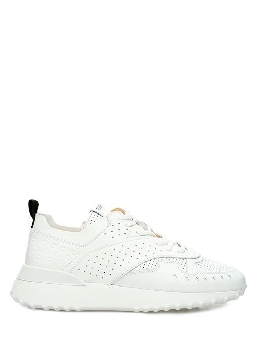 Beyaz Delik Detaylı Logolu Kadın Deri Sneaker