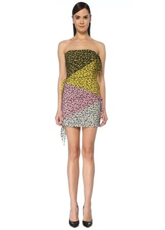 Philosophy di Lorenzo Serafini Kadın Straplez Colorblock Drapeli Mini İpek Elbise 38 IT