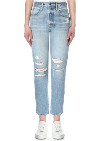 Frame Denim Kadın Le Original Yüksek Bel Yıpratmalı Jean Pantolon Mavi 23 US female
