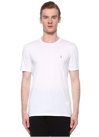 Allsaints Erkek Tonic Beyaz Logo İşlemeli Basic T-shirt XXL EU male