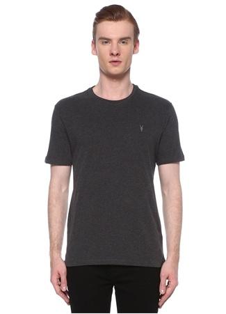 Allsaints Erkek Regular Fit Brace Antrasit Logolu Basic T-shirt Gri M EU male