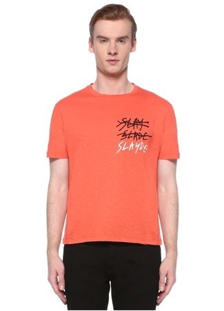 Neil Barrett Erkek Turuncu Slogan Baskılı Basic T-shirt Kırmızı L EU male
